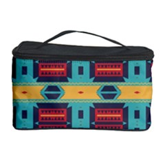 Blue Red And Yellow Shapes Pattern Cosmetic Storage Case