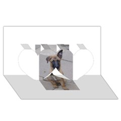 Malinois Puppy Sitting Twin Hearts 3D Greeting Card (8x4)