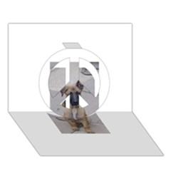 Malinois Puppy Sitting Peace Sign 3D Greeting Card (7x5)