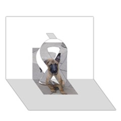 Malinois Puppy Sitting Ribbon 3D Greeting Card (7x5)