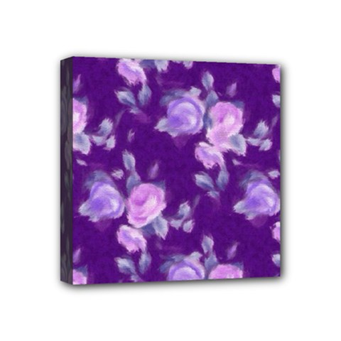 Vintage Roses Purple Mini Canvas 4  X 4