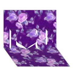 Vintage Roses Purple I Love You 3D Greeting Card (7x5)