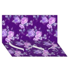 Vintage Roses Purple Twin Heart Bottom 3d Greeting Card (8x4)