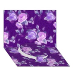 Vintage Roses Purple Circle Bottom 3D Greeting Card (7x5)