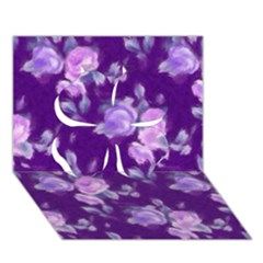 Vintage Roses Purple Clover 3d Greeting Card (7x5)