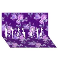 Vintage Roses Purple Best Sis 3d Greeting Card (8x4)