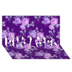 Vintage Roses Purple ENGAGED 3D Greeting Card (8x4)