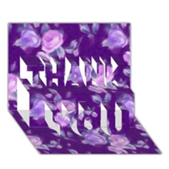Vintage Roses Purple Thank You 3d Greeting Card (7x5)
