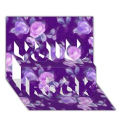 Vintage Roses Purple You Rock 3D Greeting Card (7x5)