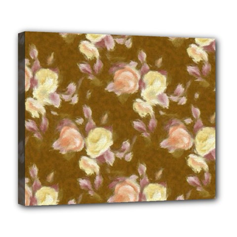 Vintage Roses Golden Deluxe Canvas 24  x 20