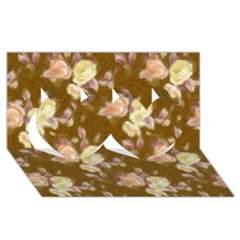 Vintage Roses Golden Twin Hearts 3D Greeting Card (8x4)