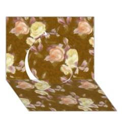 Vintage Roses Golden Circle 3D Greeting Card (7x5)