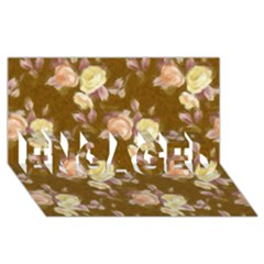 Vintage Roses Golden Engaged 3d Greeting Card (8x4)
