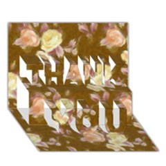 Vintage Roses Golden THANK YOU 3D Greeting Card (7x5)