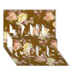 Vintage Roses Golden TAKE CARE 3D Greeting Card (7x5)
