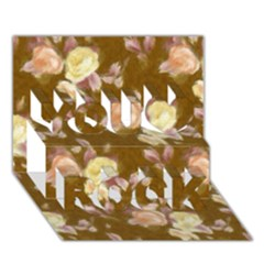 Vintage Roses Golden You Rock 3d Greeting Card (7x5)