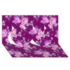 Vintage Roses Pink Twin Hearts 3d Greeting Card (8x4)