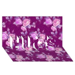 Vintage Roses Pink Hugs 3d Greeting Card (8x4)