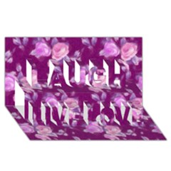 Vintage Roses Pink Laugh Live Love 3d Greeting Card (8x4)
