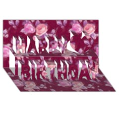 Vintage Roses Happy Birthday 3D Greeting Card (8x4)