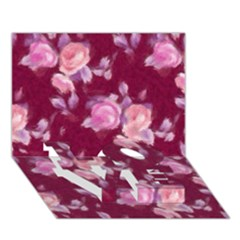 Vintage Roses Love Bottom 3d Greeting Card (7x5)
