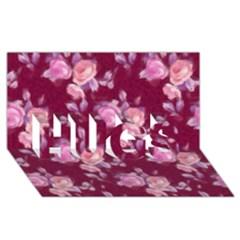 Vintage Roses HUGS 3D Greeting Card (8x4)