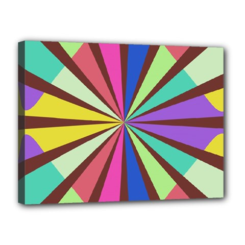 Rays In Retro Colors Canvas 16  X 12  (stretched)