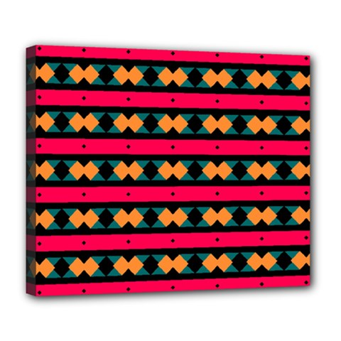Rhombus and stripes pattern Deluxe Canvas 24  x 20  (Stretched)