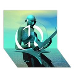 Sad Guitar Peace Sign 3d Greeting Card (7x5)