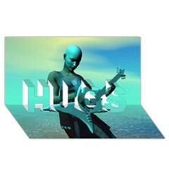 Sad Guitar HUGS 3D Greeting Card (8x4)