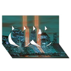New York 2014 1206 Twin Hearts 3D Greeting Card (8x4)