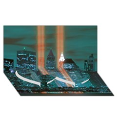 New York 2014 1206 Twin Heart Bottom 3D Greeting Card (8x4)