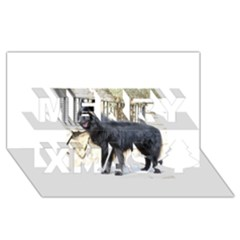 Belgian Shepherd Dog (groenendael) Full Merry Xmas 3D Greeting Card (8x4)