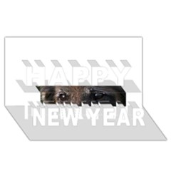 Belgian Tervueren Eyes Happy New Year 3D Greeting Card (8x4)