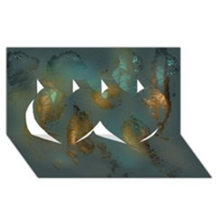 Broken Pieces Twin Hearts 3D Greeting Card (8x4)