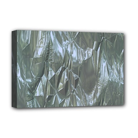 Crumpled Foil Blue Deluxe Canvas 18  x 12
