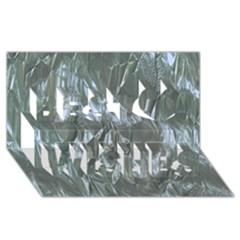 Crumpled Foil Blue Best Wish 3D Greeting Card (8x4)