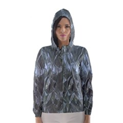 Crumpled Foil Blue Hooded Wind Breaker (Women)