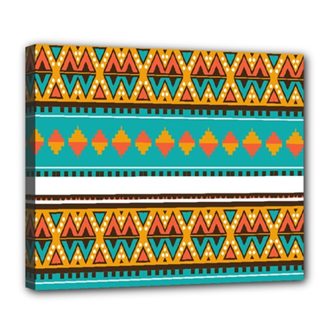 Tribal design in retro colors Deluxe Canvas 24  x 20  (Stretched)