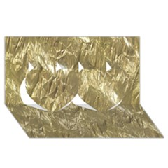 Crumpled Foil Golden Twin Hearts 3d Greeting Card (8x4)