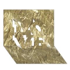 Crumpled Foil Golden LOVE 3D Greeting Card (7x5)