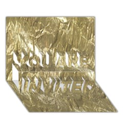Crumpled Foil Golden You Are Invited 3d Greeting Card (7x5)
