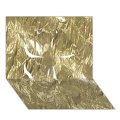 Crumpled Foil Golden Clover 3D Greeting Card (7x5)