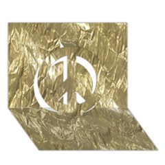Crumpled Foil Golden Peace Sign 3d Greeting Card (7x5)
