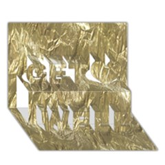 Crumpled Foil Golden Get Well 3d Greeting Card (7x5)