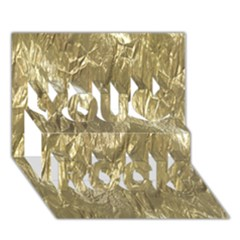 Crumpled Foil Golden You Rock 3d Greeting Card (7x5)