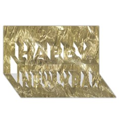 Crumpled Foil Golden Happy New Year 3d Greeting Card (8x4)