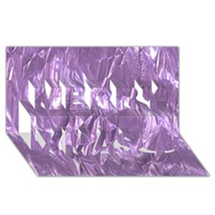 Crumpled Foil Lilac Merry Xmas 3D Greeting Card (8x4)
