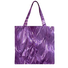 Crumpled Foil Lilac Zipper Grocery Tote Bags