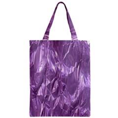 Crumpled Foil Lilac Zipper Classic Tote Bags
